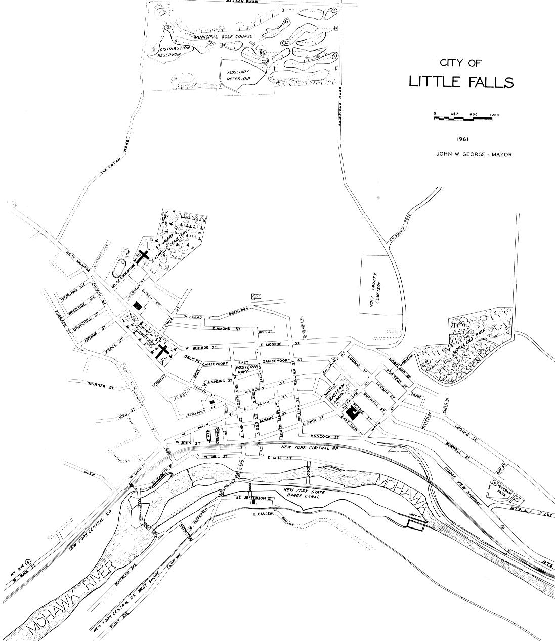little falls 1940 Plymouth Sedan map of the city of little falls